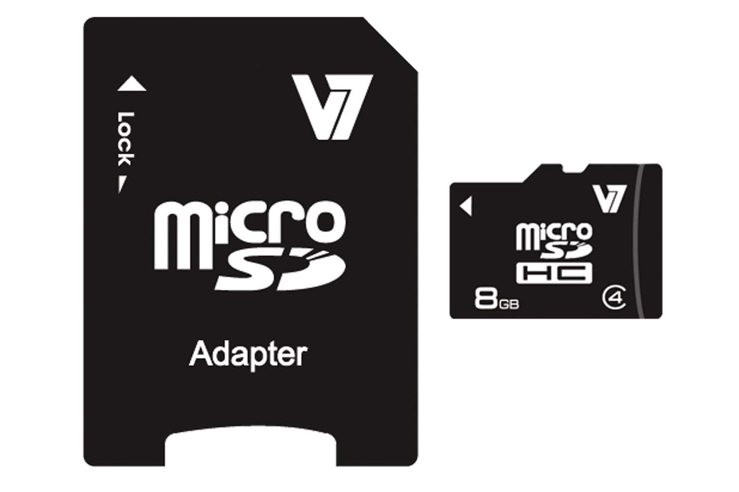 V7 VAMSDH8GCL4R-2E MICRO SDHC 8GB CLASS 4 + SD ADAPTER