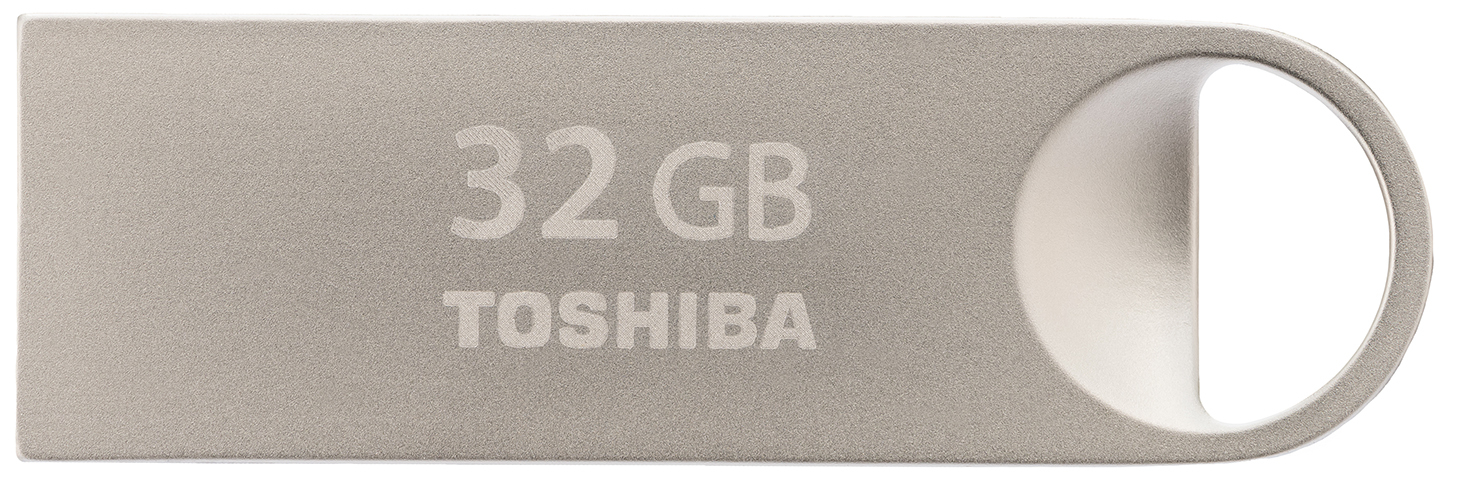 TOSHIBA TRANSMEMORY MINI-METAL 32GB USB 2.0 TYPE-A CONNECTOR SILVER FLASH DRIVE