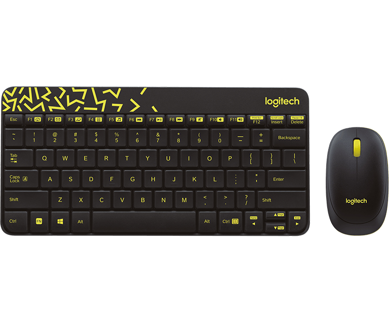 LOGITECH MK240 NANO RF WIRELESS HEBREW BLACK, YELLOW