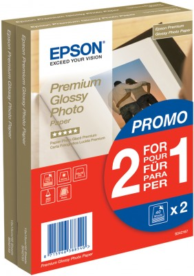 EPSON PREMIUM GLOSSY PHOTO PAPER - (2 FOR 1), 100 X 150 MM, 255G/M, 80 SHEETS