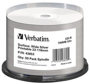 VERBATIM 43653 CD-R WIDE SILVER INKJET PRINTABLE NO ID BRAND