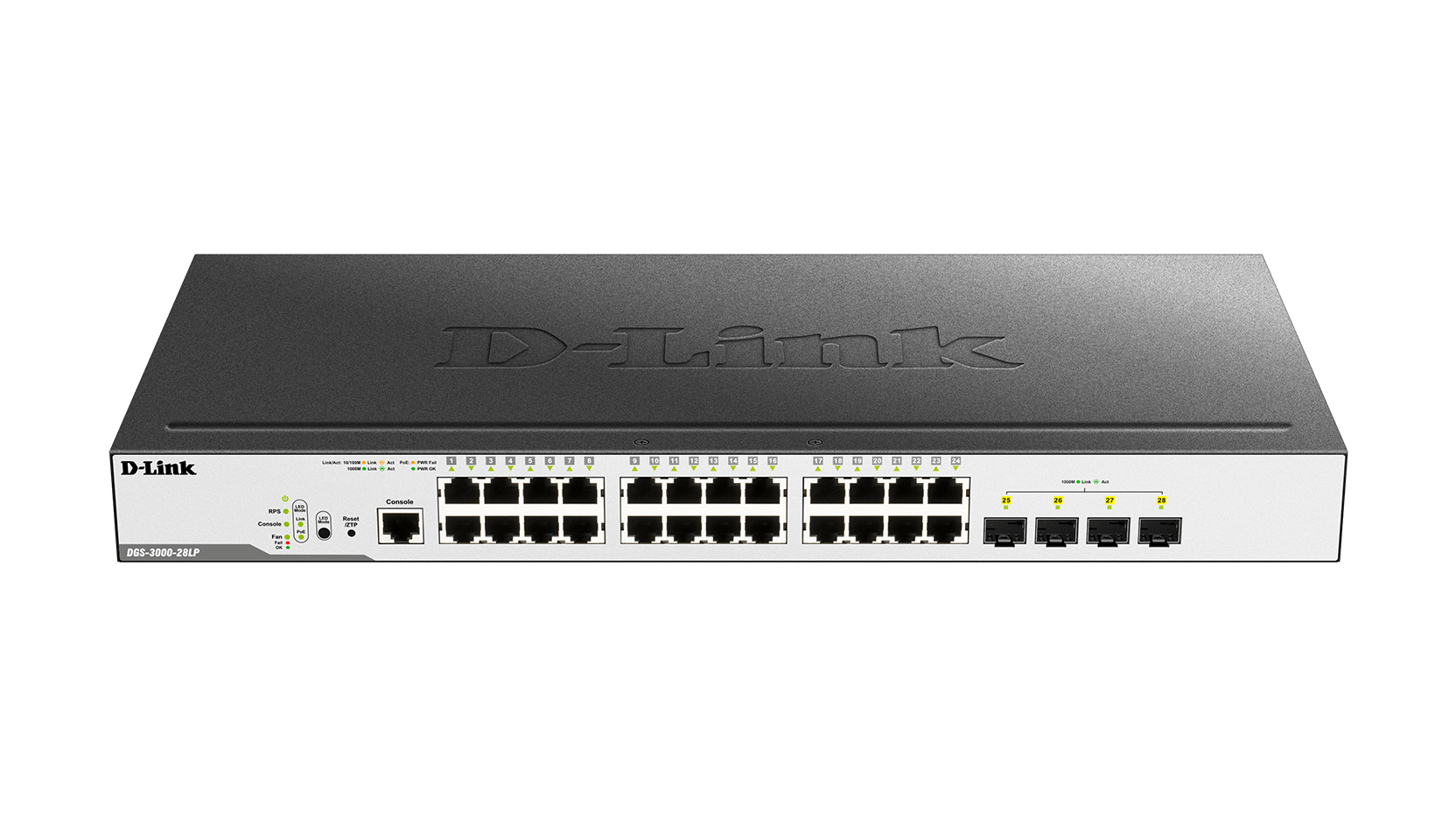 D-LINK DGS-3000-28LP MANAGED L2 GIGABIT ETHERNET POWER OVER (POE) 19U BLACK NETWORK SWITCH