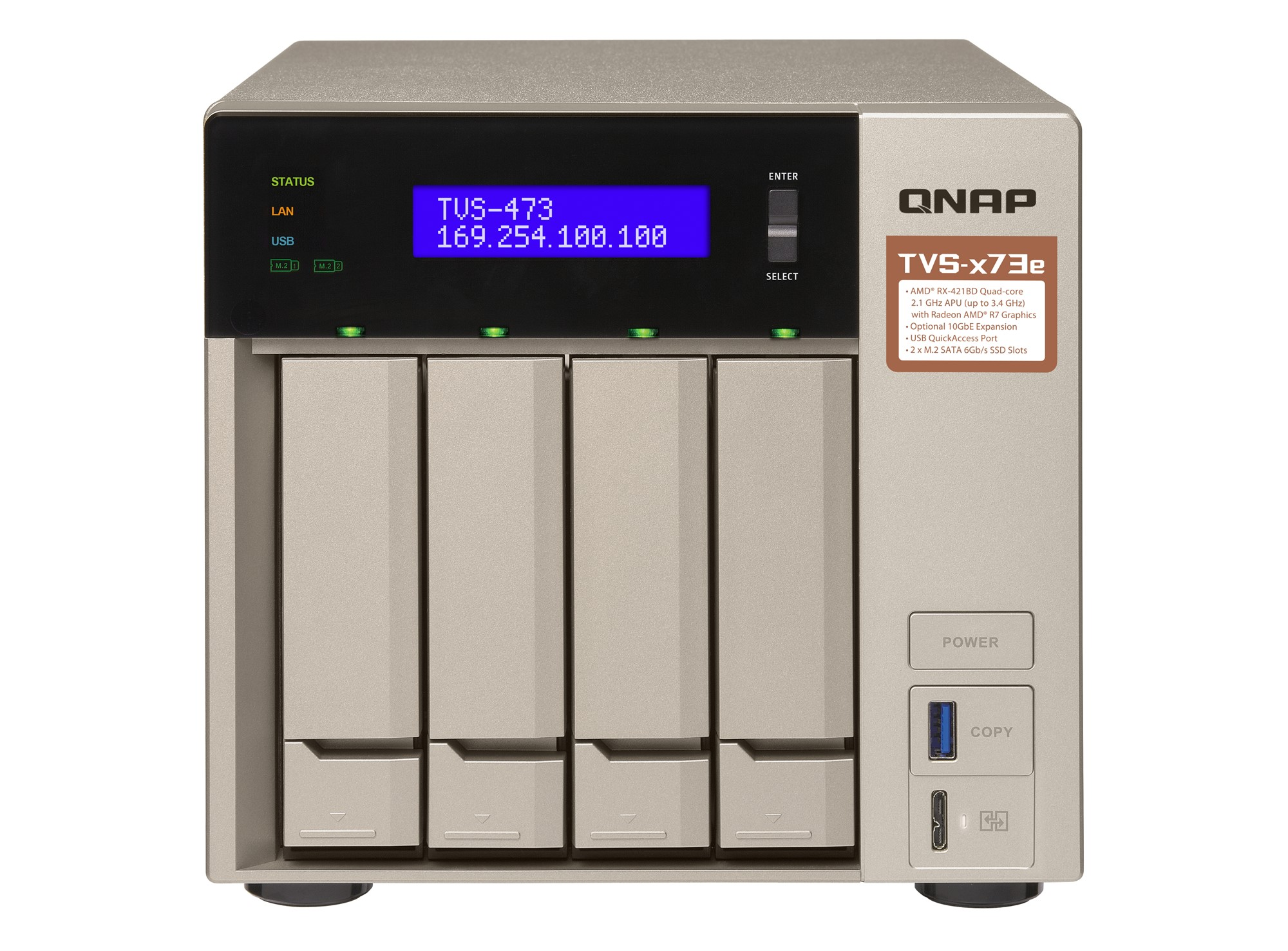 QNAP TVS-473E NAS TOWER ETHERNET LAN GREY