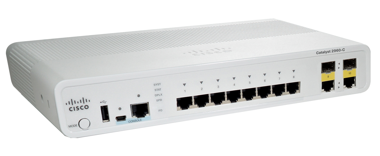 CISCO WS-C2960C-8TC-L CATALYST MANAGED L2 FAST ETHERNET (10 - 100) WHITE NETWORK SWITCH