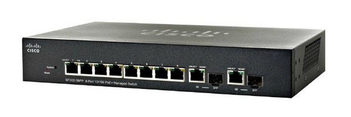 CISCO SF302-08PP-K9-EU SMALL BUSINESS MANAGED NETWORK SWITCH L2 FAST ETHERNET (10 - 100) POWER OVER (POE) BLACK