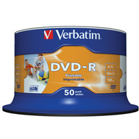 VERBATIM 43533 DVD-R WIDE INKJET PRINTABLE NO ID BRAND 4.7GB 50PC(S)