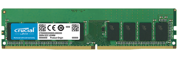 CRUCIAL CT16G4WFD8266 16GB, DDR4, 2666MT - S, CL19 DR X8, ECC, UNBUFFERED, DIMM 288PIN MODULE