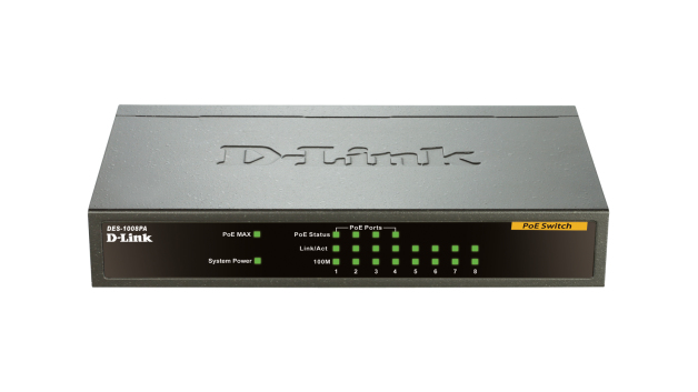 D-LINK DES-1008PA UNMANAGED NETWORK SWITCH FAST ETHERNET (10/100) POWER OVER (POE) BLACK