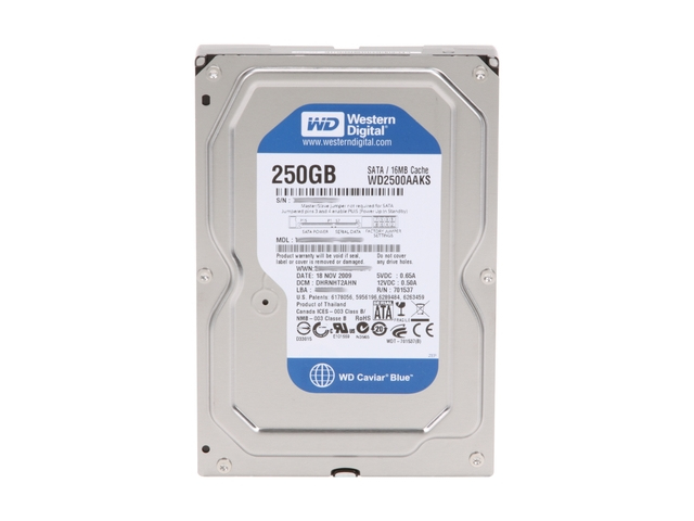 WESTERN DIGITAL CAVIAR BLUE 250GB HDD SERIAL ATA II INTERNAL HARD DRIVE REFURBISHED