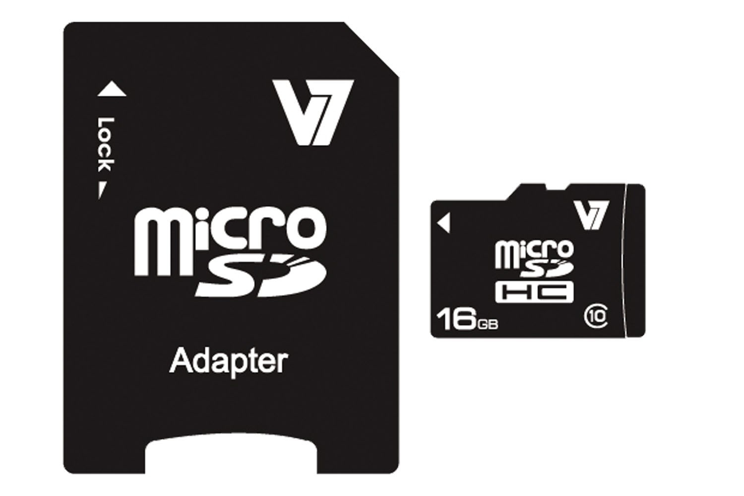 V7 VAMSDH16GCL10R-2E MICRO SDHC 16GB CLASS 10 + SD ADAPTER