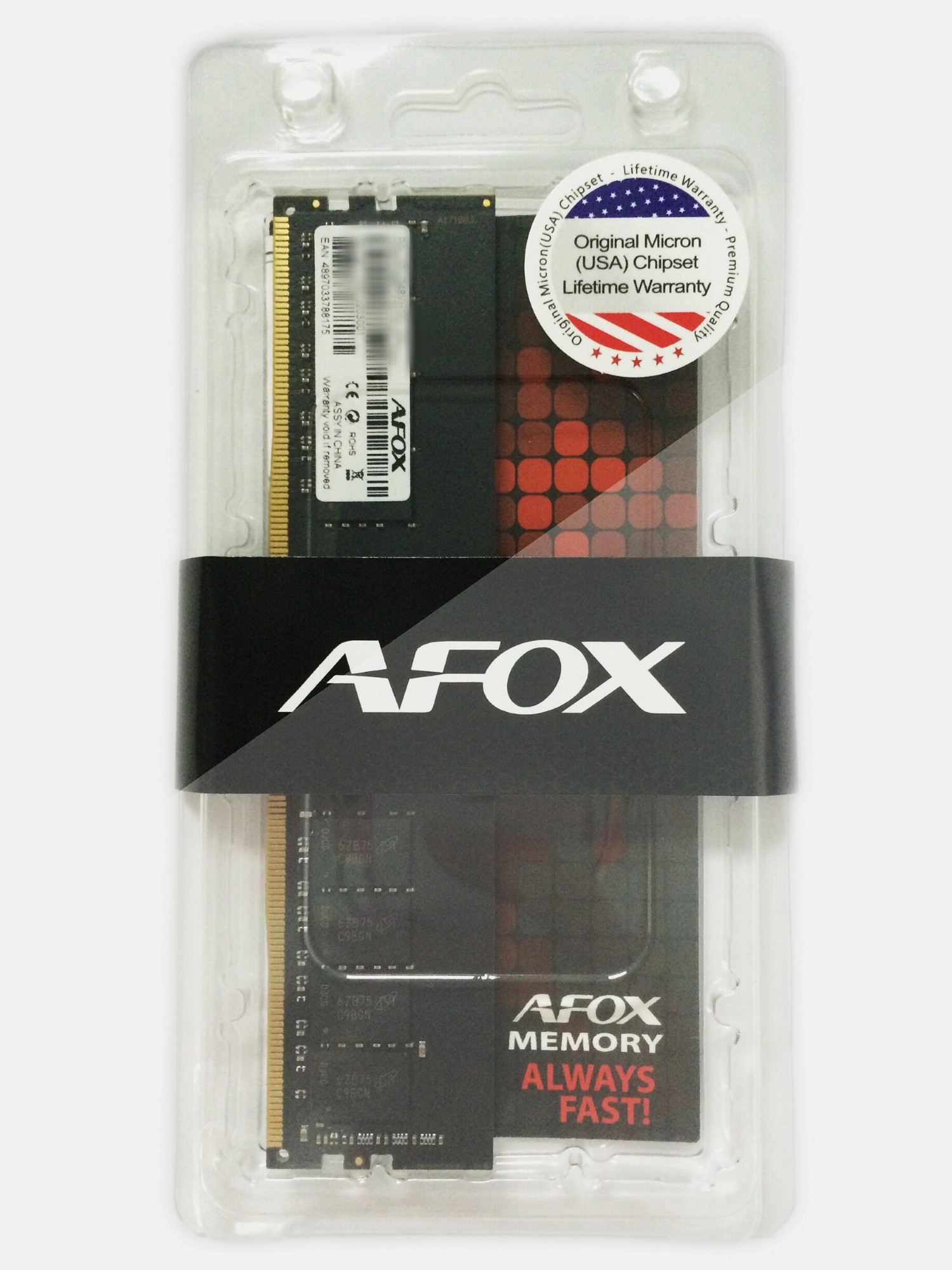 AFOX 4GB, DDR4 2400MHZ, CL17, 1.2V, UNBUFFERED, LONG DIMM, 288PIN