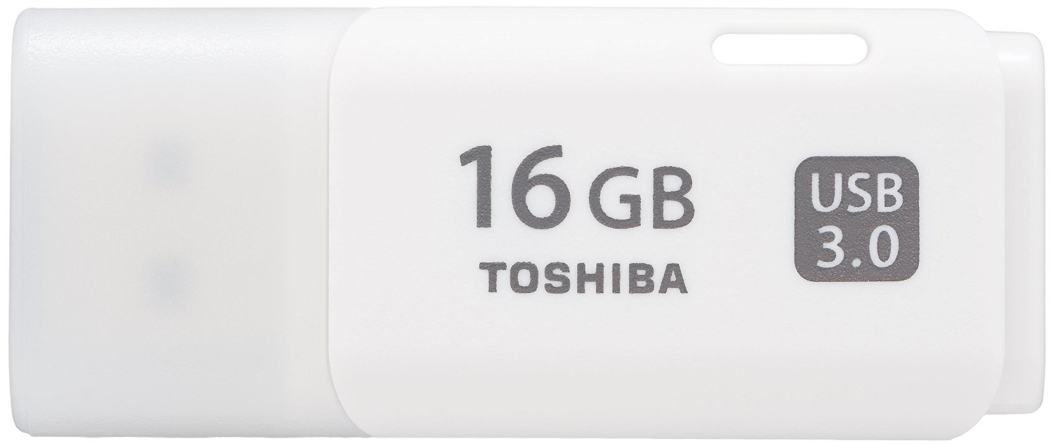 TOSHIBA TRANSMEMORY 16GB USB 3.0 (3.1 GEN 1) TYPE-A CONNECTOR WHITE FLASH DRIVE