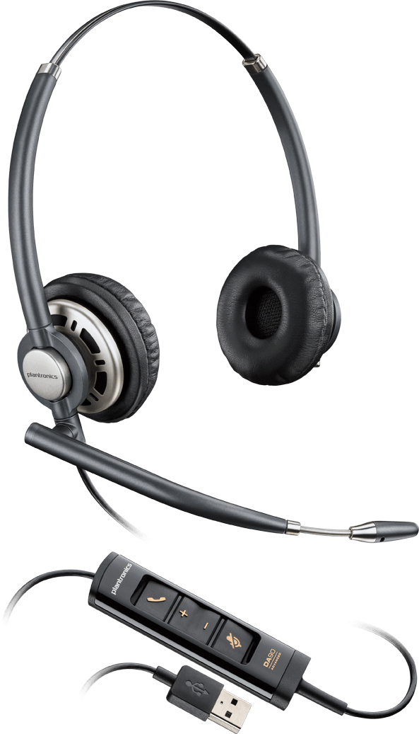PLANTRONICS 203478-01 ENCOREPRO HW725 BINAURAL HEAD-BAND BLACK, SILVER HEADSET