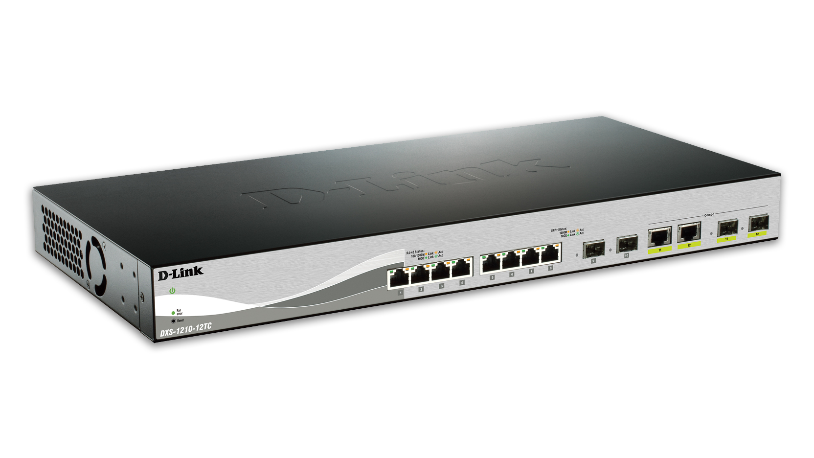 D-LINK DXS-1210-12TC MANAGED NETWORK SWITCH L2 10G ETHERNET (100/1000/10000) 1U BLACK, SILVER