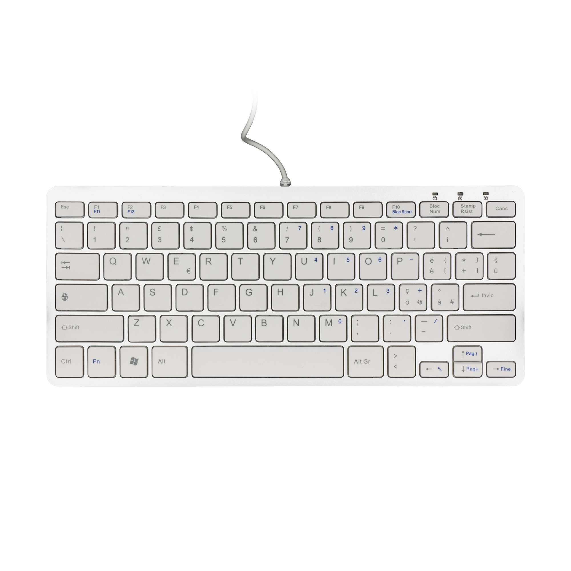 R-GO TOOLS RGOECITAW COMPACT KEYBOARD, QWERTY (IT), WHITE, WIRED