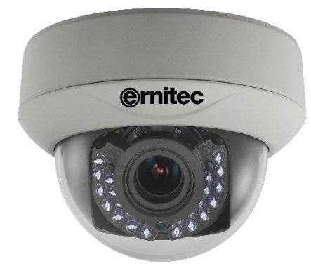 ERNITEC 0017-06300 VEGA 5 IR CCTV SECURITY CAMERA INDOOR DOME BLACK, WHITE