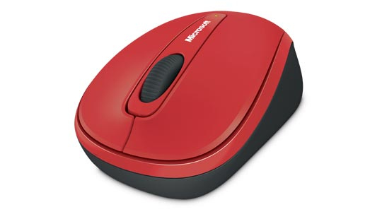 MICROSOFT GMF-00195 WIRELESS MOBILE MOUSE 3500, BLUETRACK, USB 2.0, 1 X AA, BLACK - RED