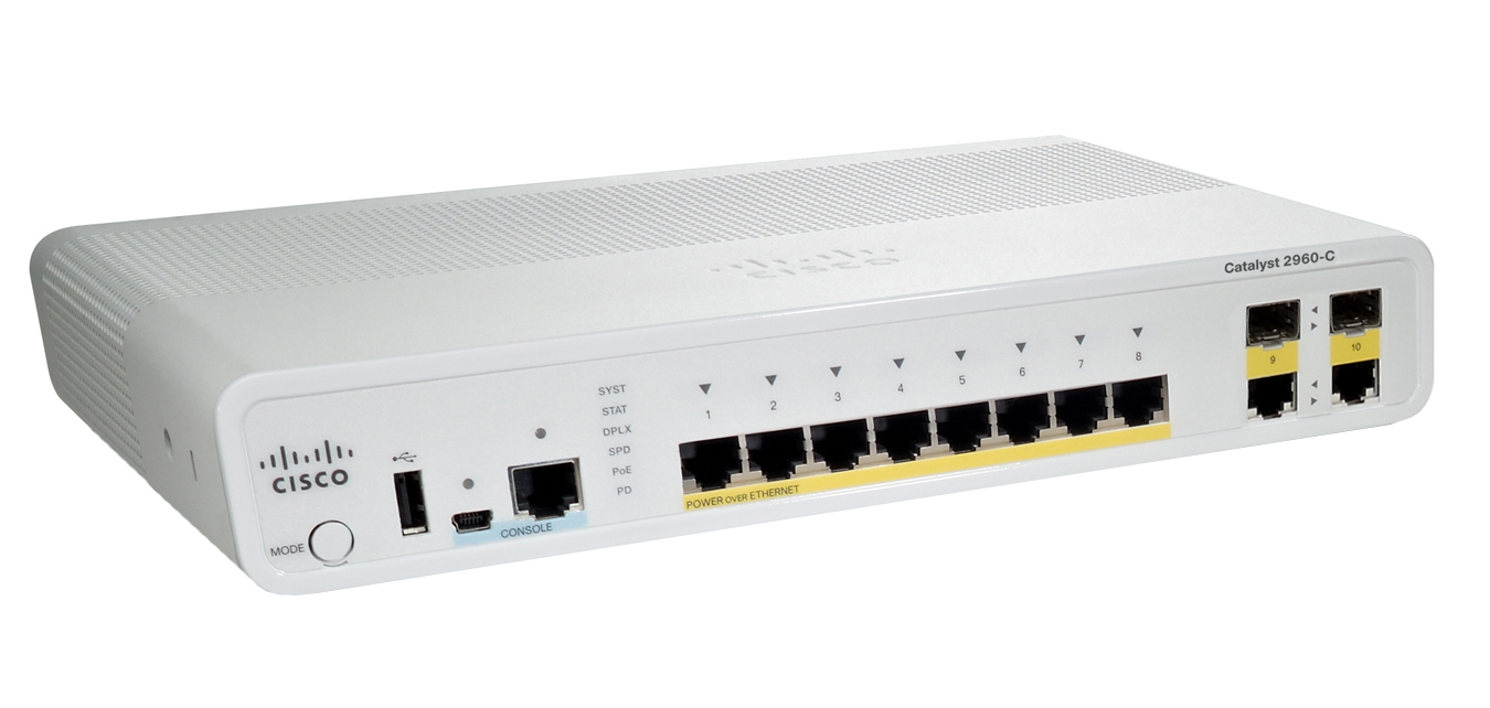 CISCO WS-C2960C-8PC-L CATALYST MANAGED L2 FAST ETHERNET (10 - 100) POWER OVER (POE) WHITE NETWORK SWITCH