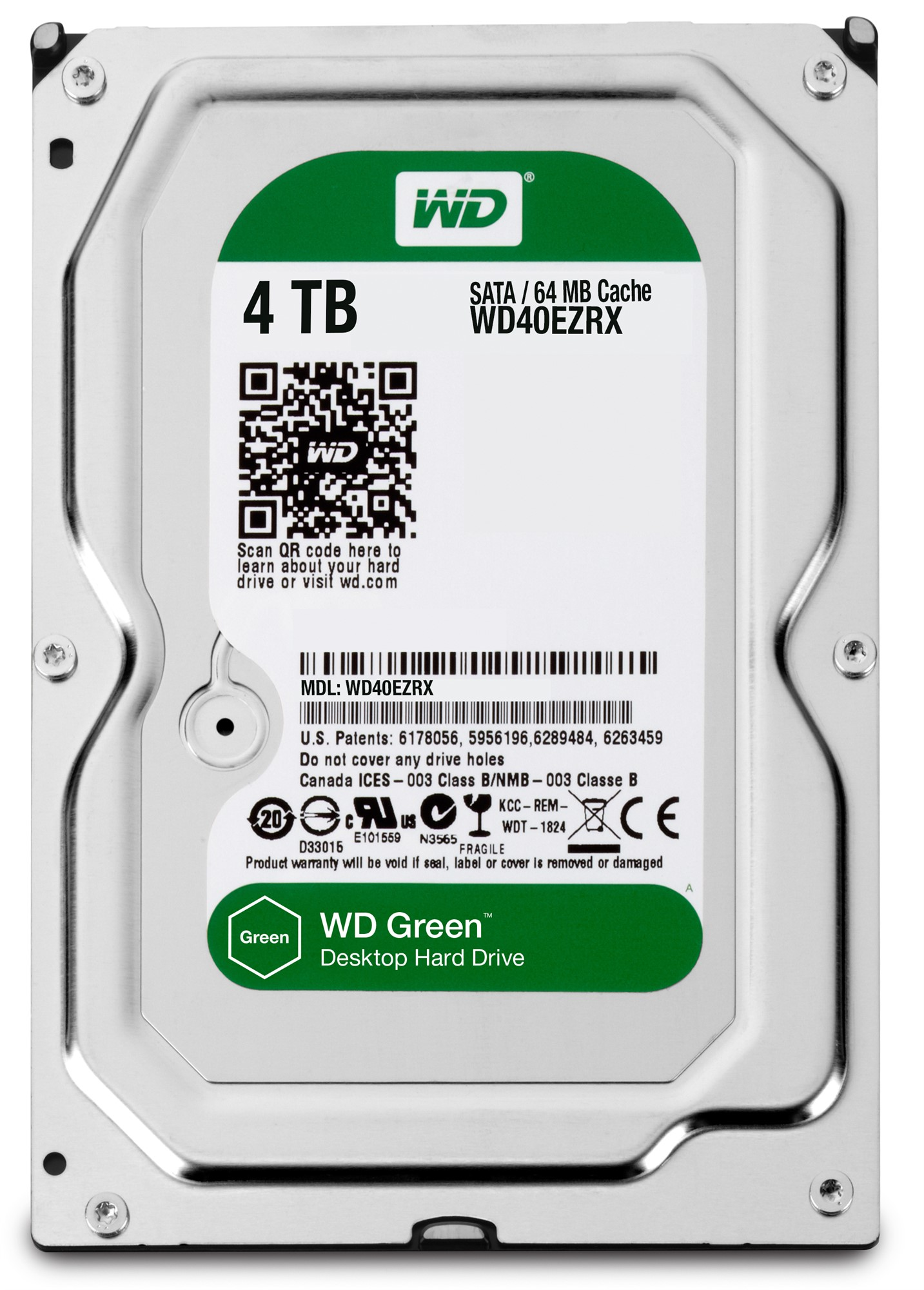 WESTERN DIGITAL GREEN 4TB 4000GB SERIAL ATA III INTERNAL HARD DRIVE REFURBISHED