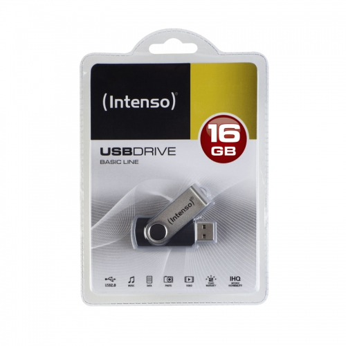 INTENSO 3503470 16GB BASIC USB2.0 USB 2.0 TYPE-A CONNECTOR BLACK, SILVER FLASH DRIVE