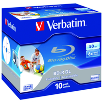 VERBATIM 43736 BD-R DL 50GB 6X WIDE PRINTABLE 10 PACK JEWEL CASE NO ID BRAND 10PC(S)
