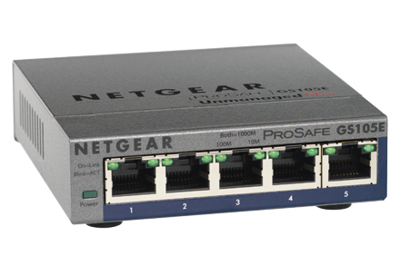 NETGEAR GS105PE UNMANAGED NETWORK SWITCH L2 GIGABIT ETHERNET POWER OVER (POE) GREY