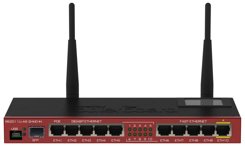 MIKROTIK RB2011UIAS-2HND-IN SINGLE-BAND (2.4 GHZ) GIGABIT ETHERNET BLACK, BORDEAUX WIRELESS ROUTER