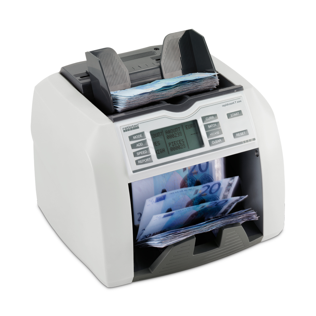 RATIOTEC 46401 T 200 BANKNOTE COUNTING MACHINE WHITE