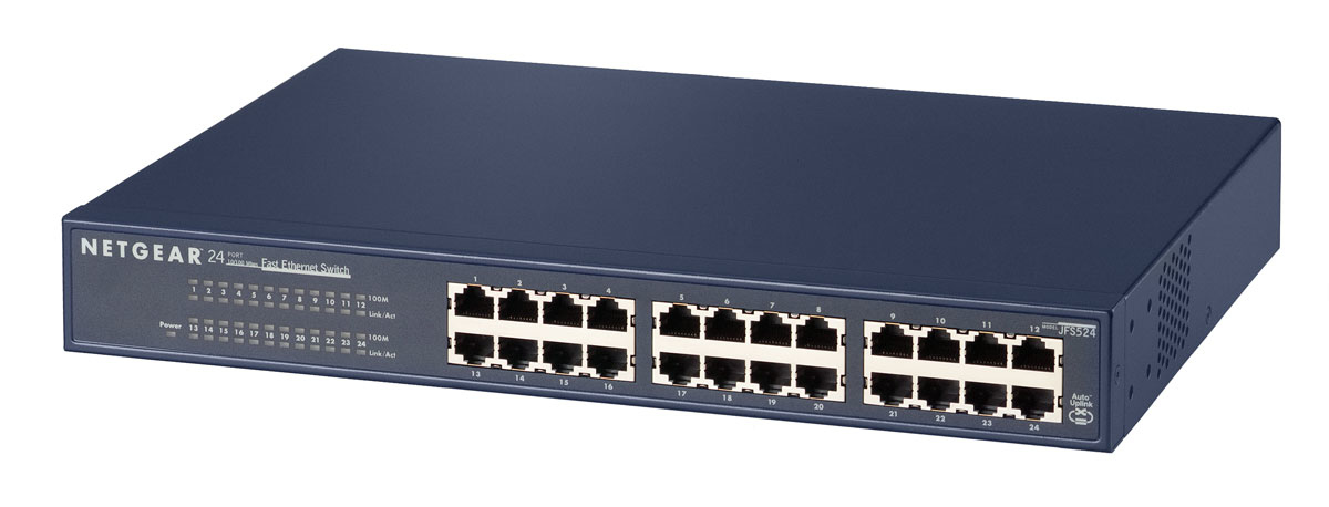 NETGEAR JFS524 UNMANAGED NETWORK SWITCH FAST ETHERNET (10/100) BLUE