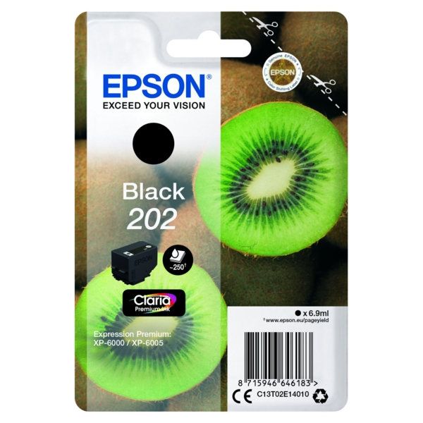 EPSON C13T02E14010 (202) INK CARTRIDGE BLACK, 250 PAGES, 7ML