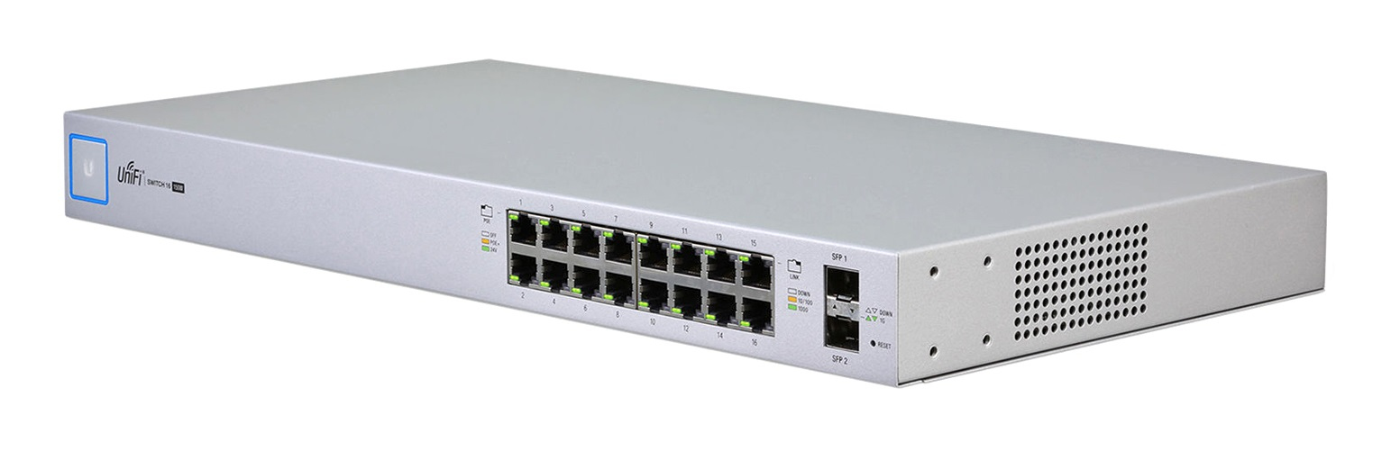 UBIQUITI NETWORKS US-16-150W UNIFI MANAGED GIGABIT ETHERNET POWER OVER (POE) 1U WHITE NETWORK SWITCH