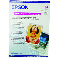 EPSON MATTE PAPER HEAVY WEIGHT, DIN A3, 167G/M, 50 SHEETS