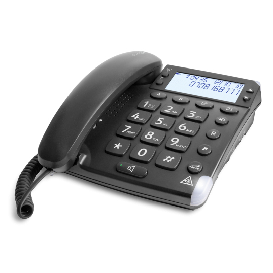 DORO 6379 MAGNA 4000 AMPLIFIED CORDED TELEPHONE, HAC, BIG DISPLAY FONT, BLACK