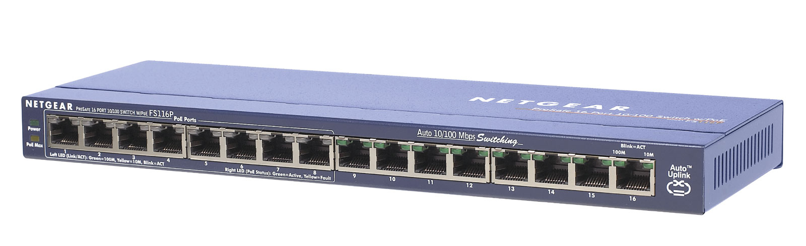 NETGEAR FS116PEU FAST ETHERNET (10/100) POWER OVER (POE) NETWORK SWITCH