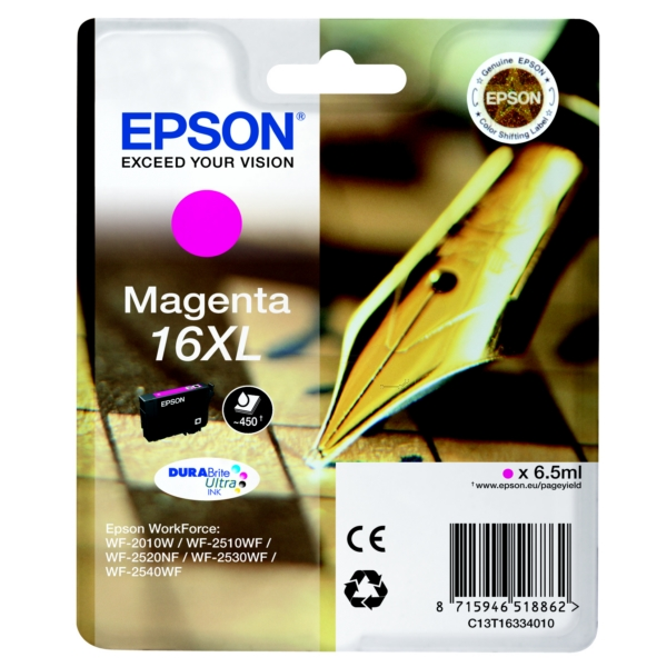 EPSON C13T16334022 (16XL) INK CARTRIDGE MAGENTA, 450 PAGES, 7ML