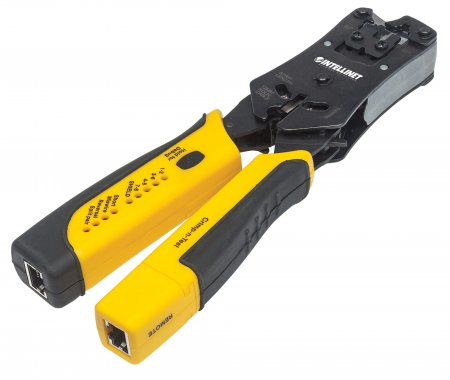 INTELLINET UNIVERSAL MODULAR PLUG CRIMPING TOOL AND CABLE TESTER, 2-IN-1 CRIMPER AND CABLE TESTER: CUTS, STRIPS, TERMINATES AND TESTS, RJ45/RJ11/RJ12