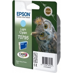 EPSON C13T07954010 (T0795) INK CARTRIDGE BRIGHT CYAN, 520 PAGES, 11ML