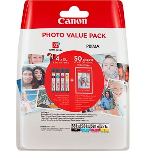CANON 2052C004 (581 XL) INK CARTRIDGE MULTI PACK, 3.12K PAGES, 8ML, PACK QTY 4