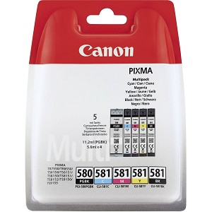 CANON 2078C005 (580/581 CMYK) INK CARTRIDGE MULTI PACK, 1X 200/1505/256/237/257 PG, PACK QTY 5